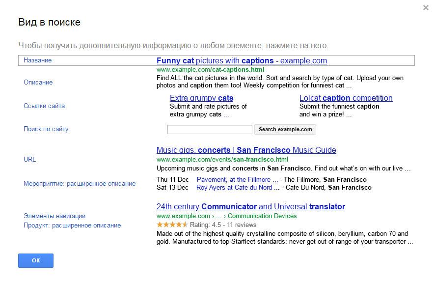 Использование семантической разметки в Google