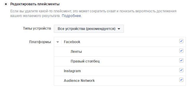 Варианты размещения объявлений в Facebook