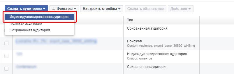 Индивидуализированная аудитория на Facebook