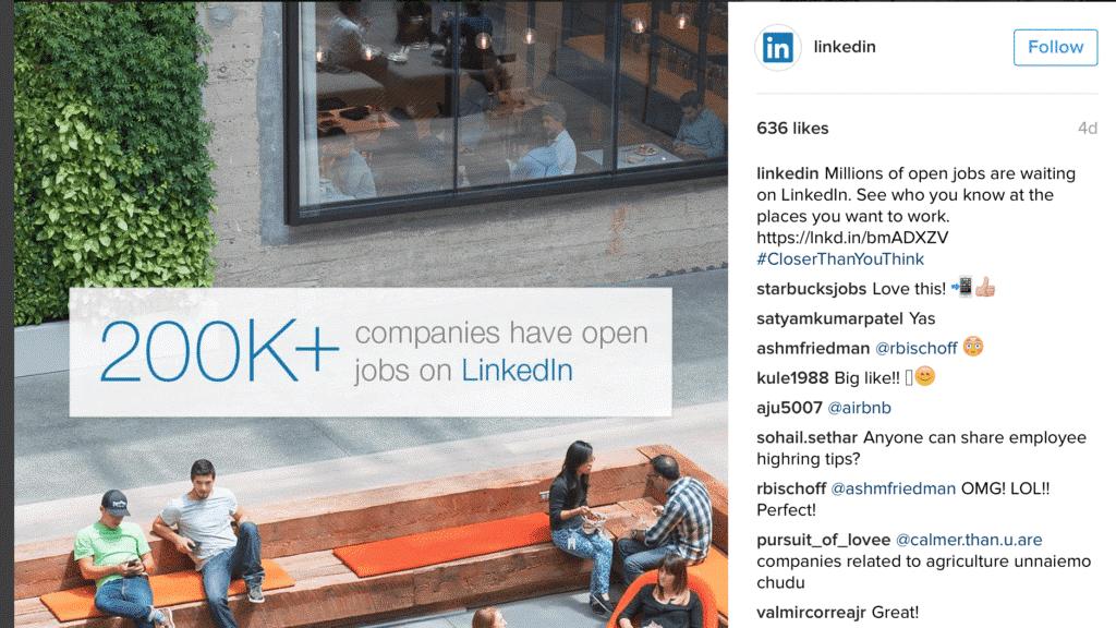 LinkedIn рекламирует интересный процесс поиска работы, а не просто продукт