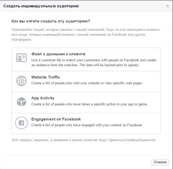 Создание индивидуализированной аудитории на Facebook